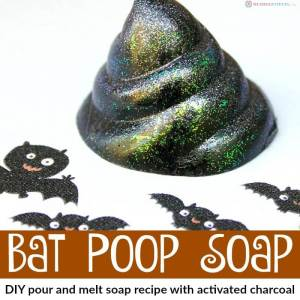 DIY Glitter Bat Poop Soap (pour and melt soap recipe with activated charcoal)