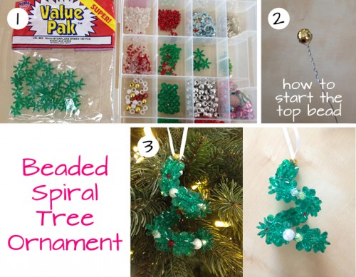 DIY Beaded Spiral Tree Ornament. Perfect as a gift attachment