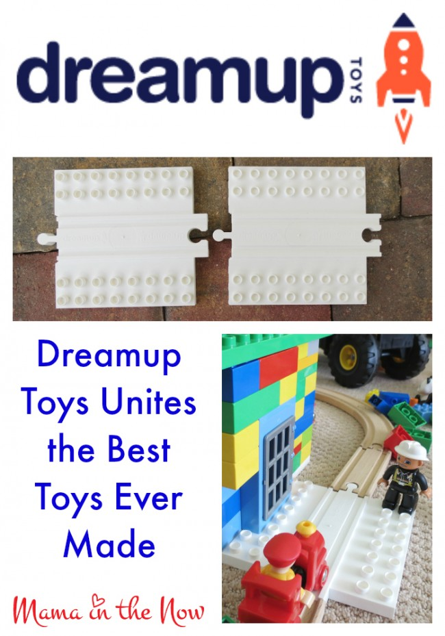 Dreamup Toys unites the best toys ever made: DUPLO and wooden railway tracks. Your kids will keep building for years to come! #KeepBuilding