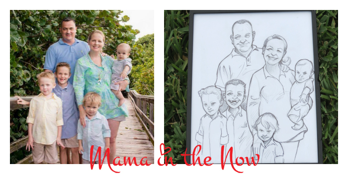 Family Photo Caricature drawn by hand