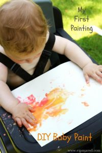 DIY edible baby paint. What a great way to explore textures, colors and taste