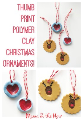 Thumb Print Polymer Clay Christmas Ornaments