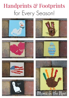 Handprint art and footprint art ideas for every season of the year. Celebrate every holiday with a cute handprint art or footprint art. Preschool craft idea. Toddler craft idea. #PreschoolActivity #ToddlerActivity #CraftsforKids #HandprintIdeas #Handprintart #FootprintIdeas #FootprintArt #mamainthenow