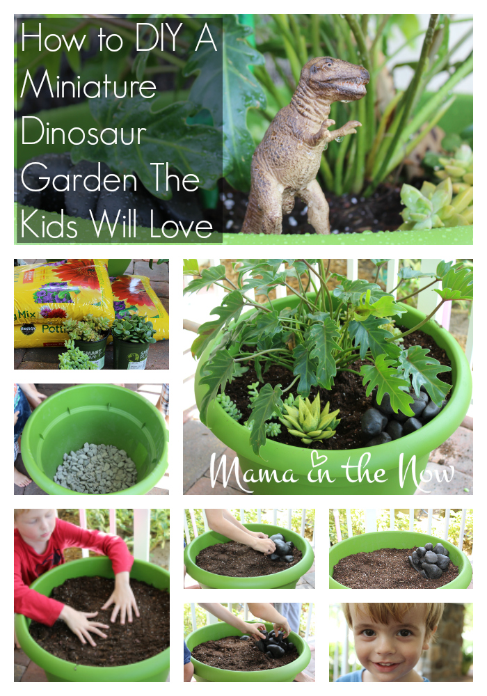How to DIY a miniature dinosaur garden the kids will love. This is a great fairy garden substitute. Parenting win from a mother of four.