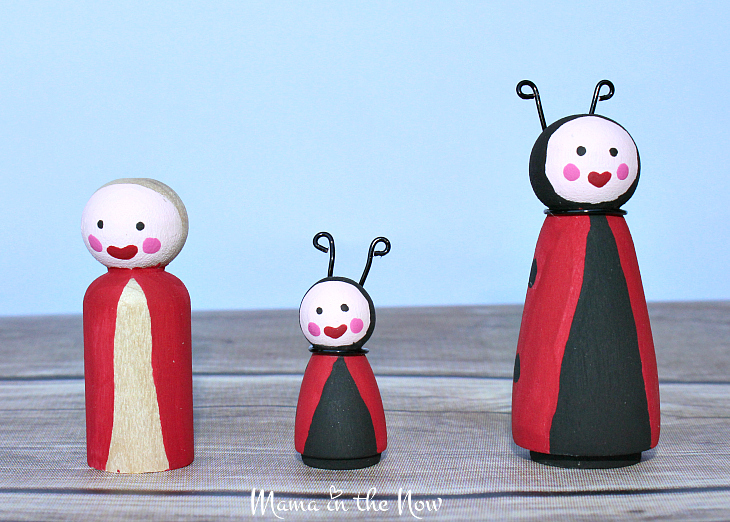 How to make the most adorable wooden insect peg dolls. Great craft for kids of all ages. Wooden ladybug peg doll instructions.
