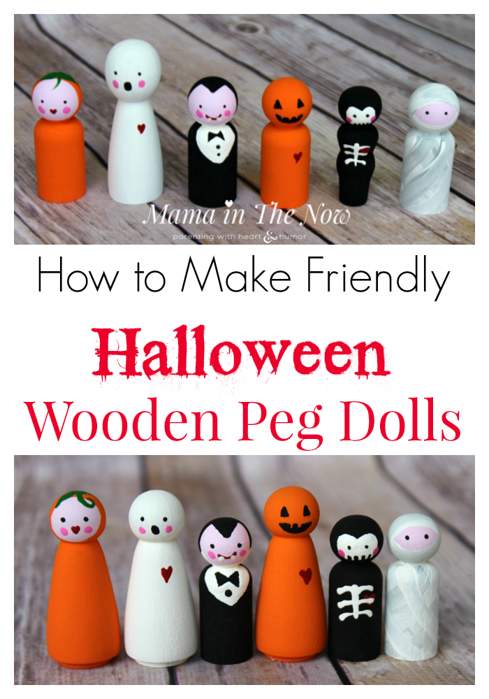 How to make friendly Halloween wooden peg dolls. Adorable not-so-spooky kid-friendly Halloween decorations.