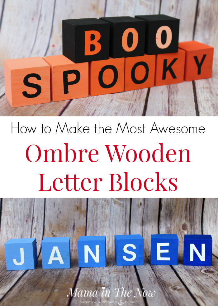 How to make the most awesome ombre wooden letter blocks. Complete instructions to make play-based learning blocks for early learners and holiday decorations.