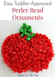 These perler bead ornaments are easy and fun for you to make with your toddler. Great DIY ornament for kids. Get creative with Perler (Hama) melting beads.