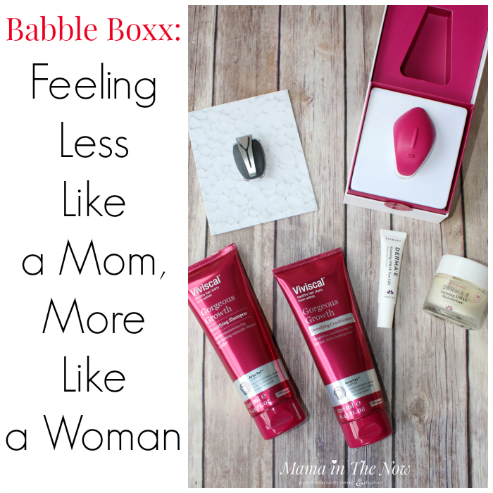 Babble Boxx Review: Feelings less like mom, more like a woman. Spire Wellness tracker, Viviscal Shampoo and Conditioner, Dermae Firming Eye Lift and Moisturizer, Fiera by Nuelle