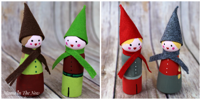 Adorable DIY Christmas elves and winter gnomes. These wooden peg dolls make great Christmas decorations and toys for busy toddlers.