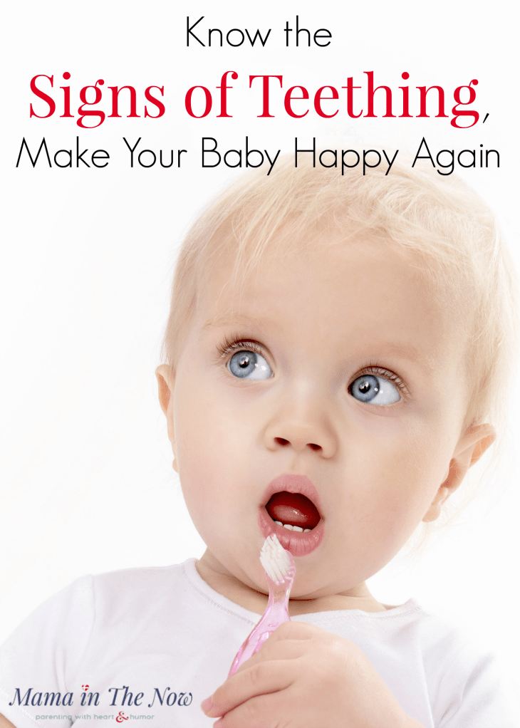 Learn the 8 signs of teething so you can calm your baby. Drooling infants, sleepless nights and runny noses can all be signs of teething, but there are a few surprising symptoms too! Motherhood teething tip! #SignsofTeething #Baby #Teething #TeethingRemedy #HappyBaby #HappyToddler #Baby #Parenting #MamaintheNow