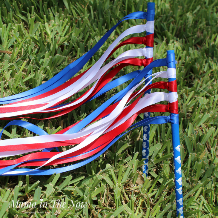 Celebrate your red, white and blue holidays with these patriotic ribbon wands. They are easy to make, and hours of fun for your toddler and young kids.