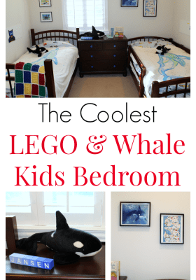 Turn your nursery into a big kids LEGO and whale bedroom. Fun LEGO decorations, whale decor, LEGO wall bricks, drawer knobs and whale blankets and whale art. Gender neutral kids bedroom.