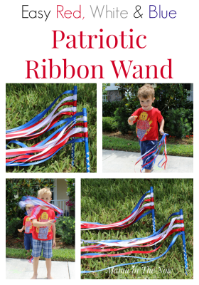 Easy Red, White and Blue Patriotic Ribbon Wand