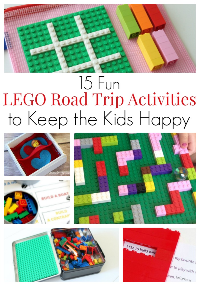"""Fun LEGO road trip (and airplane) activities to keep the kids happy and have the family vacation of your dreams. LEGO building challenges, educational LEGO games and activities, printables using LEGO bricks and DUPLO. LEGO fun for toddlers, kids, tweens and teens. You won't hear """"are we there yet"""" for hours! #LEGO #LEGORoadTrip #RoadTrip #MamaintheNow"""