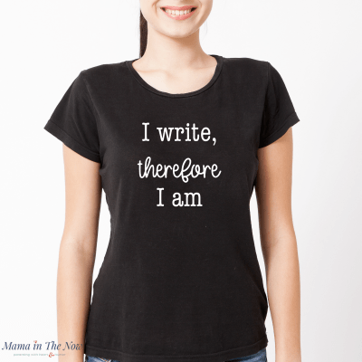 """I write, therefore I am"" a great philosophical quote for writers and nerds. Bloggers and journalists will love this tee. Gift, stocking stuffer for college grad, aspiring writer, accomplished author and successful blogger"