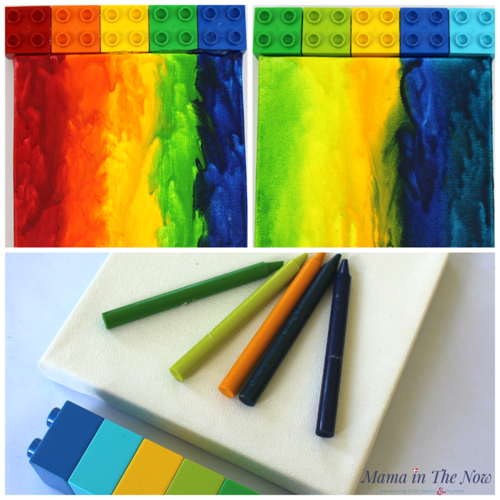 Colorful Melted Crayon Art With Lego Duplo On Canvas