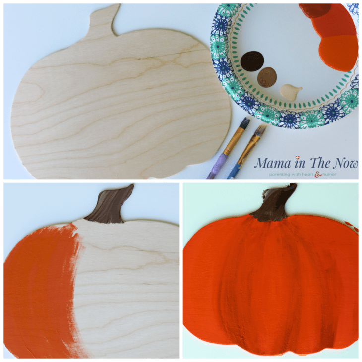 Emoji faces for kids to learn facial expressions and emotions. Fine motor play, painted pumpkin fall decor. Wooden wall plaques for fall and quiet emoji toddler and preschool activity. #PreschoolActivity #Emoji #FallDecor #WoodenPumpkin