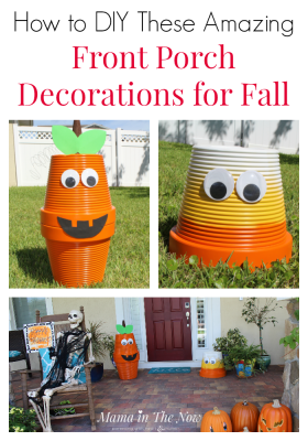 Front porch decorations for fall. Upcycle old faded flower pots, adding spray paint and googly eyes. Not spooky Halloween front porch decorations. Family friendly outdoor Halloween and fall decorations. Upcycling, frugal and green living fall decorations. #FallDecorations #HalloweenDecorations #FrontPorchFallDecor