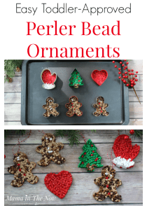 Perler bead ornaments make great gifts. Easy ornaments to make with toddlers and preschoolers. These Perler beads, fuse beads, HAMA beads are great for fine motor skills. The ornaments make great homemade gifts for grandparents. Fun, quick and easy craft for toddlers and preschoolers. Christmas ornaments for toddlers and preschoolers to make.