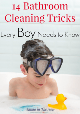 Bathroom cleaning tricks and tips for boys. Teach your boys how to keep their bathroom clean - their future wives will thank you! Boy mom cleaning hacks. Parenting tips for moms of boys! #BoyMom #MomofBoys #RaisingBoys #CleaningBathrooms #BathroomCleaningTips #CleaningTips #MatchMadeInParadise #Clorox #Ad @Clorox