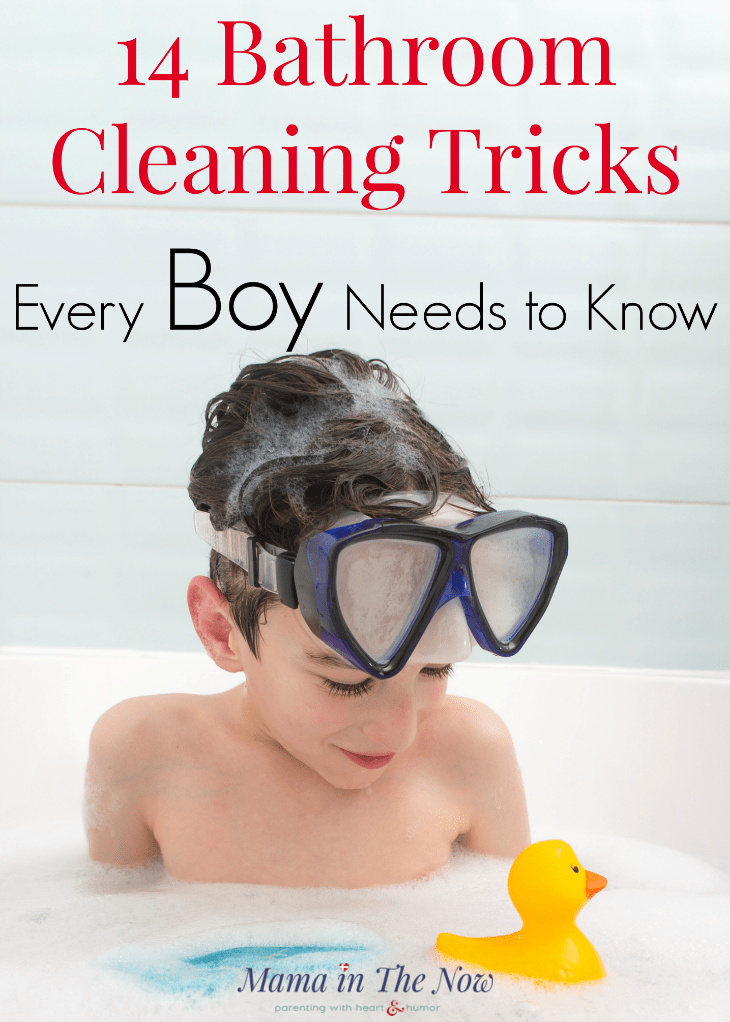 Bathroom cleaning tricks and tips for boys. Teach your boys how to keep their bathroom clean - their future wives will thank you! Boy mom cleaning hacks. Parenting tips for moms of boys! #BoyMom #MomofBoys #RaisingBoys #CleaningBathrooms #BathroomCleaningTips #CleaningTips #Clorox #Ad @Clorox