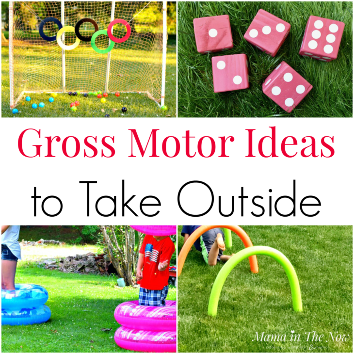 Gross Motor Ideas to Take Outside. Play outside. Outdoor fun. Summer fun outside working your gross motor skills. Childhood fun outside. Jumping, throwing and running fun for kids #FunforKids #Outdoorsfunforkids #SummerFun #SummerActivities #GrossMotor #GrossMotorActivitiesForKids #MamaintheNow
