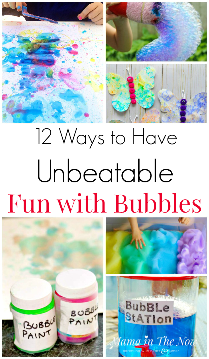 12 Ways to Have bubble fun. Bubble fun for kids. Summer outdoor activities for kids. Ideas for play with bubbles for kids. #Bubbles #Summer #SummerBucketList #BubbleFun #GrossmotorSkills #FunForKids #mamainthenow