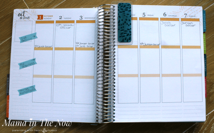 Learn how to organize your planner when you are a busy mom. Planning tips for busy moms. No stress solutions for moms to stay organized when the kids go back to school and back to sports. Review of the Erin Condren Oh Joy! LifePlanner. Organized mom tips. #BusyMom #BusyMomPlanner #mamainthenow #ErinCondren #ErinCondrenLifePlanner #LifePlanner #ErinCondrenReview #motherhood #WorkingMom #StayatHomeMom #ad