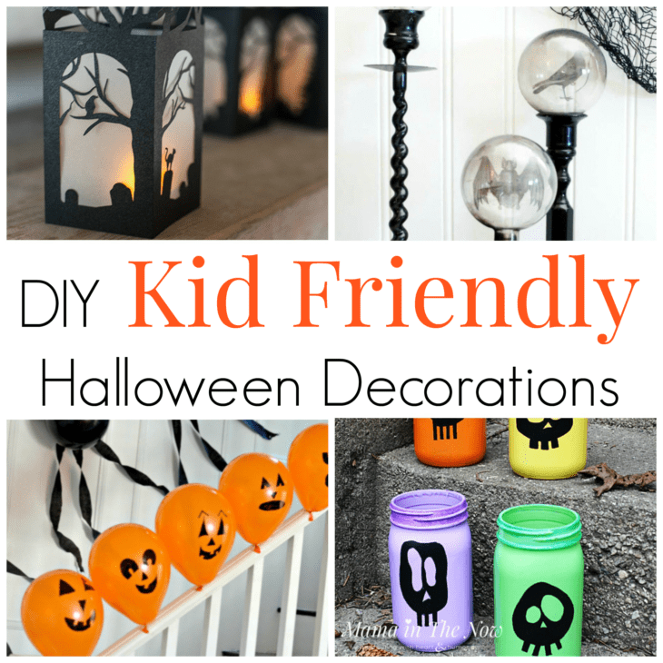 DIY kid friendly halloween decorations for the whole family. Not spooky Halloween decorations, family fun at Halloween. Kids friendly Halloween crafts. #Halloween #HalloweenDecorations #MamaintheNow #KidFriendly #KidFriendlyHalloween #NotSpookyHalloween #HalloweenDecor #HalloweenCraftsForKids #CraftsForKids #HalloweenFun #HalloweenClassPartyActivities #FallClassParty