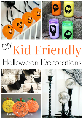 DIY kid friendly halloween decorations for the whole family. Not spooky Halloween decorations, family fun at Halloween. Kids friendly Halloween crafts. #Halloween #HalloweenDecorations #MamaintheNow #KidFriendly #KidFriendlyHalloween #NotSpookyHalloween #HalloweenDecor #HalloweenCraftsForKids #CraftsForKids