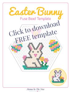 Easter bunny perler bead template. Easter bunny bead pattern. Perler bead pattern for Easter. #EasterCrafts #PerlerBeads #CraftsForKids #PerlerBeadPattern #HamaBeadPattern #mamainthenow