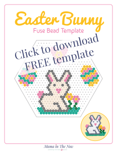 Easter bunny perler bead template. Easter bunny bead pattern. Perler bead pattern for Easter. #EasterCrafts #PerlerBeads #CraftsForKids #PerlerBeadPattern #HamaBeadPattern #mamainthenow