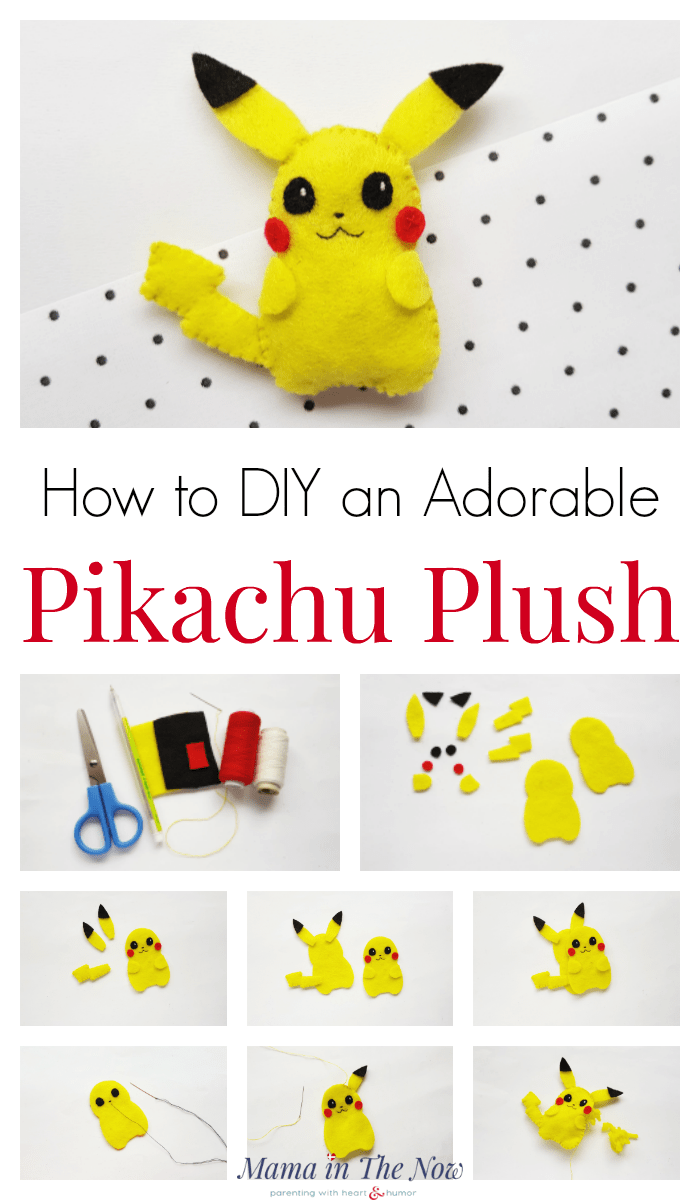 DIY an adorable Pokemon Pikachu plush. Sewing craft for kids. Pokemon craft for kids. Pikachu craft for kids. Fine motor skill exercise for tweens. DIY an adorable Pokemon plush. #Pokemoncraft #Pokemonpartyfavor #Pikachupartyfavor #Pikachucraft #CraftforKidswhoLiketoSew #MamaintheNow