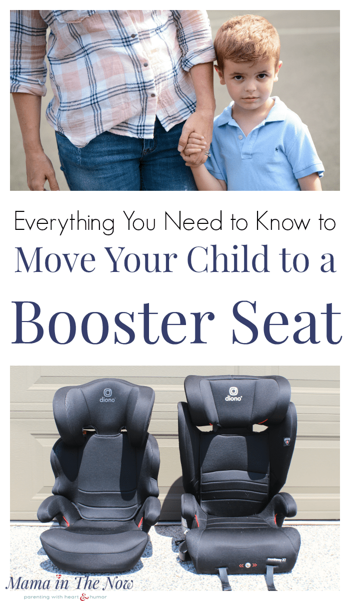 Everything you need to know to move your child to a booster seat. Booster seat review by mother of four. Transition your child safely into a booster seat. Booster seat tips and tricks. Current car seat laws and the latest booster seat safety information. Click here to learn how to know when your child is ready for a booster seat. #Diono #BoosterSeat #CarSeat #CarSeatSafety #BoosterSeatSafety #Parenting #MamaintheNow