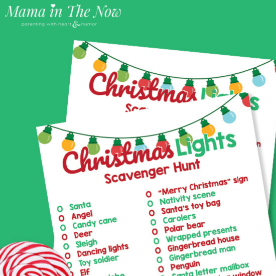 printable Christmas lights scavenger hunt