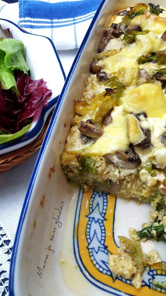 Složenac od kelja, gljiva i riže