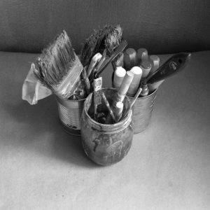 paintbrushes used in a painting commission