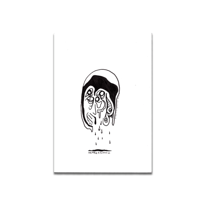 black and white drawing depression eyes