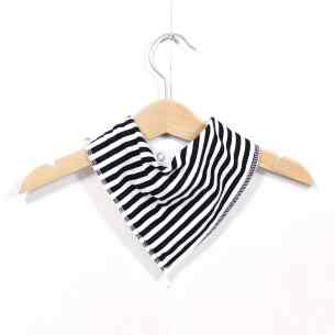 MONOCHROME STRIPED BIB - Monochrome stripes bandana dribble bib