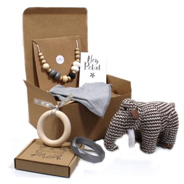 Wooly Mammoth Toy Mum and Baby Hmaper Mama Jewels 2017 - Mum and baby gift hamper - Calming grey and Woolly Mammoth toy