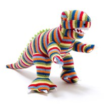 Rainbow rex dino crochet teething toy no text - Rainbow Rex Dinosaur knitted toy baby rattle