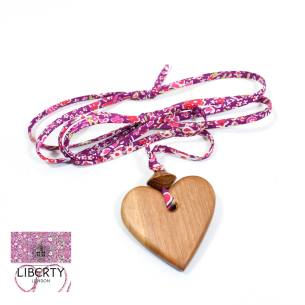 Apple Heart Kayoko Rose 5 - Natural wood Heart  teething nursing fiddle necklace pendant on Liberty purple rose fabric cord