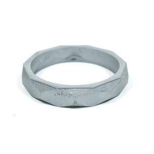 silver bangle - GEOMETRIC silicone teething bangle bracelet Metallic Silver