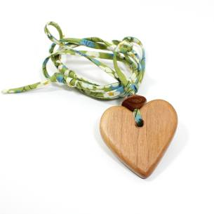 Apple heart Liberty green - Natural wood Heart  teething nursing fiddle necklace pendant on Liberty green fabric cord