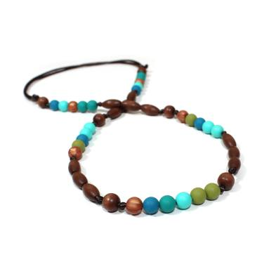 Elements Peacock 005 - Elements Peacock green turquoise Silicone wood teething baby proof bracelet