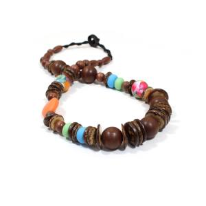 Manuhiki dark 1 - Manuhiki Nursing Teething necklace UK mixed medium design dark wood