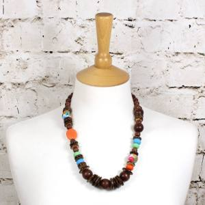 Manuhiki dark 2 - Manuhiki Nursing Teething necklace UK mixed medium design dark wood