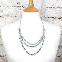 Celine nursing teething necklace silver 001 - CELINE vintage style crystal layered baby proof nursing necklace in silver grey