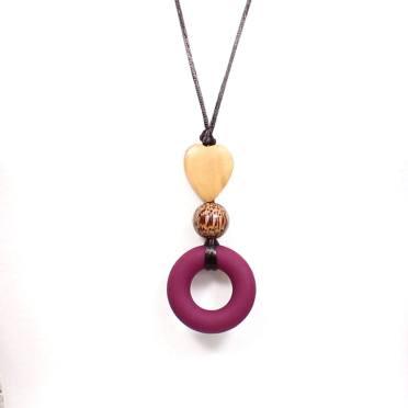 Milo heart Malbec teething necklace ring 2 - MILO Silicone Teething ring necklace in Malbec red